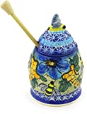 Polish Pottery 6-inch Honey Jar with Dipper (Corn In The Blue Theme) Signature UNIKAT + Certificate of Authenticity
