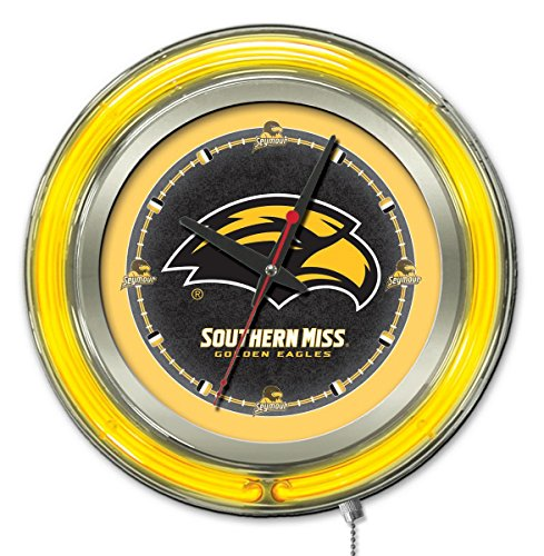 NCAA Southern Mississippi Golden Eagles Double Neon Ring Logo Clock, 15-Inch Diameter, (Eagle Neon Clock)