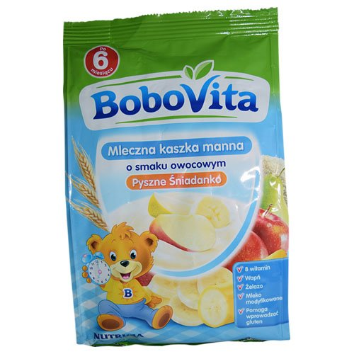 Bobovita Instant Milk Semolina with Bananas, Apples and Pears for Babies (230g/8.1oz)