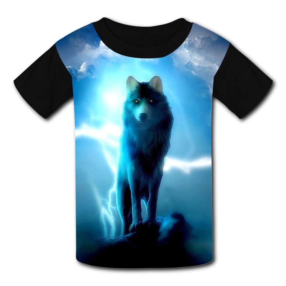Kids Lightning Cool Wolf O-Neck T Shirts for Fashion Children Boys Girls Tee Shirt