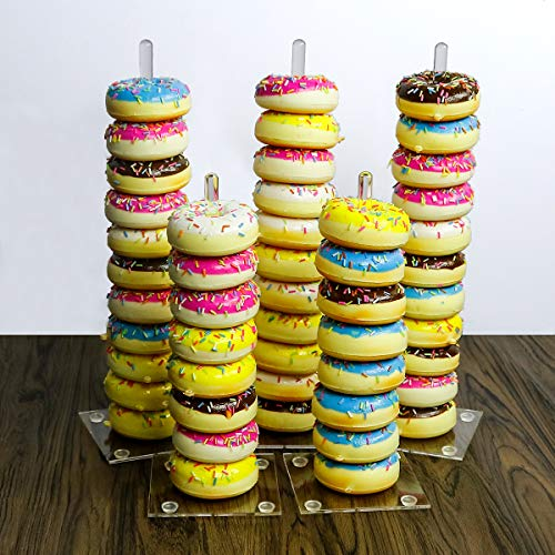 Donuts Stand,Clear Acrylic Doughnut Donut Stand Display Holder for Wedding Patry Birthday Decorations,Kitchen,Shop,Dount Hole Baker,Boy Kids,Girls's Mini Donuts Favors,Tiered Display Tower Tree, 5 ()