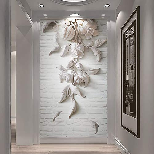 Custom Photo Wall Paper European Style 3D Embossed White Flower Art Mural Wall Painting for Living Room Entrance Wall Home Decor Cchpfcc-400X280CM