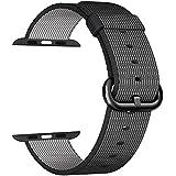 MXY de Apple venda de reloj de 2016 de la correa fina de nylon tejido de reemplazo clásico brazalete de la muñeca (Negro-38MM)