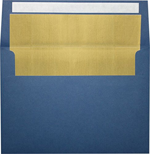 A7 Foil Lined Invitation Lined Envelopes w/Peel & Press (5 1/4 x 7 1/4) - Navy Blue w/Gold LUX Lining (50 Qty.) | Perfect for Invitations, Announcements, Sending Cards, 5x7 Photos | 60lb. Paper