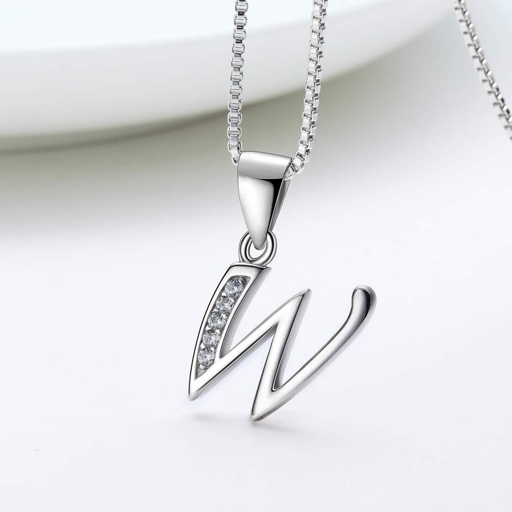 Aurora Tears 26 Lettres Collier en Argent Sterling 925 Initiale Alphabet Alphabet Pendentif avec Zircon cubique Bijoux Cadeaux pour Les Femmes DP0045