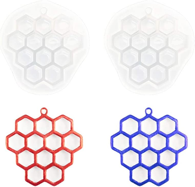 Nifocc Honeycomb Keychain Silicone Mold Bee Hive Keychain Charms Epoxy Resin Molds Jewelry Casting Molds with Hole for DIY Crafts Decoration Making - 2 Pcs
