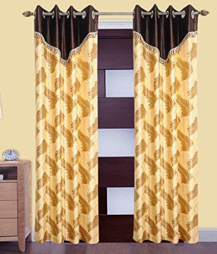 Super India Polyster 2 printed curtains leaf cream 4feet X 5feet