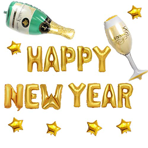 Coxeer Happy New Year Balloons, New Year Foil Balloons with Champagne Bottle Balloon Star Balloon New Year Festival Party Decorations Christmas Event Halloween Party -