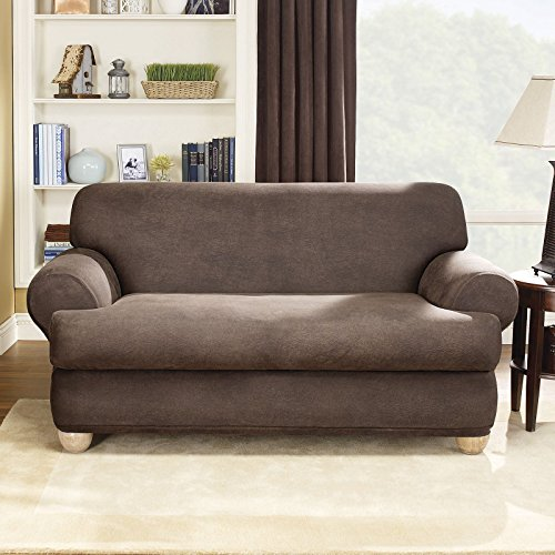 UPC 047293427336, Sure Fit Stretch Leather 2-Pc. T-Loveseat Slipcover, Camel