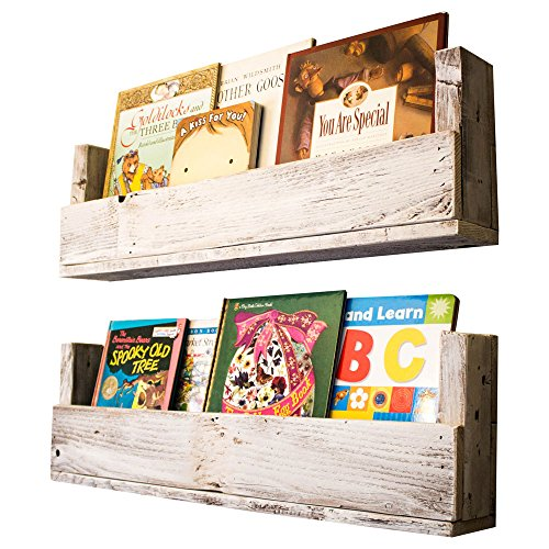 Nursery Bookshelves 28 Inch (Set of 2) | Wall Mount | Handmade Rustic Reclaimed Wood - Whitewash