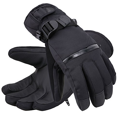Andorra Men's Classic Touchscreen Ski Glove w/Horizontal Zippered Pocket,Black,L