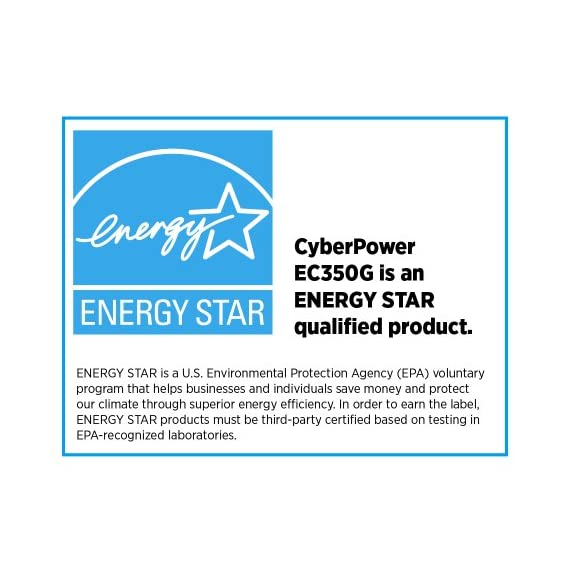 CyberPower EC350G Ecologic 350VA/255-Watts Energy Efficient Desktop UPS 6 550VA/330W Ecologic Battery Backup Uninterruptible Power Supply (UPS) 8 NEMA 5 to 15R OUTLETS: (4) Battery Backup & Surge Protected Outlets, (4) Surge Protected Outlets (3 ECO controlled) safeguard desktop computers, workstations, networking devices, and home entertainment systems LED STATUS LIGHTS: Indicate Power On and ECO Mode On/Off