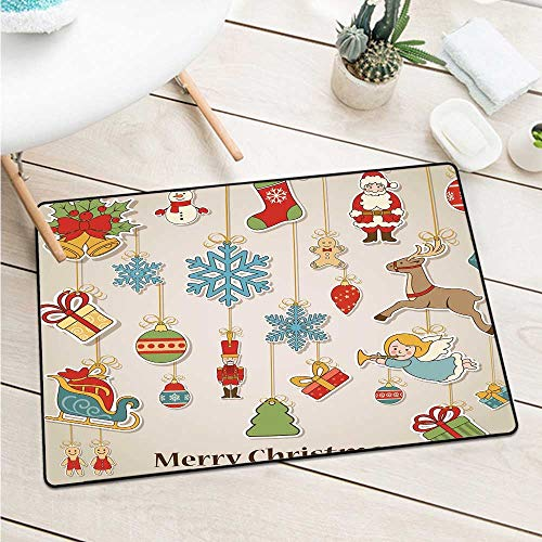 Christmasxmas Winter Holiday Themed Icons Celebratory Objects Retro Graphic Collection Catch Dust Snow and Mud (W29.5 X L39.4 inch,Multicolor)