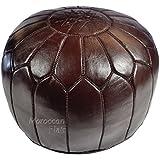 Stuffed Handmade Genuine Leather Moroccan Pouf, Ottoman (Chocolate Brown)
