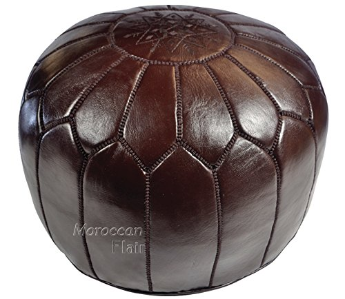 Moroccan Flair | Genuine Handmade Moroccan Leather Pouf | Bedroom & Living Room Round Ottoman | Authentic Goat Skin Leather | Eco-Friendly Materials | 20