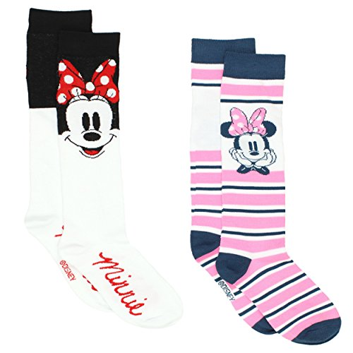Disney Minnie Mouse Womens 2 pack Socks (9-11 (Shoe: 4-10), Knee High White/Pink)