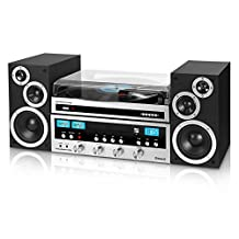 Innovative Technology ITCDS-6000 Classic Retro Bluetooth Stereo System with CD Player, FM Radio, Aux-In, Headphone Jack, & Turntable, Silver & Black