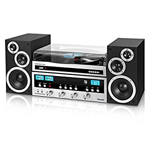 Innovative Technology Classic Retro Bluetooth Stereo System with CD Player, FM Radio, Aux-In, Headphone Jack, and Turntable, Silver and Black