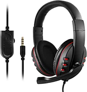 3.5mm Wired Gaming Headphones Over Ear Game Headset Noise Canceling Earphone with Microphone Volume Control for PC Laptop PS4 Smart Phone