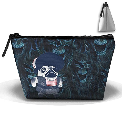 Unisex Stylish And Practical The Angry One-Eyed Pirate Pug Dog Trapezoidal Storage Bags Handbags by XIANGKESI