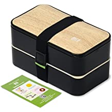 Original BentoHeaven Bento Box - Leakproof Lunch Boxes with Fun Lunch Box Notes, Cutlery, Chopsticks - Bamboo Black