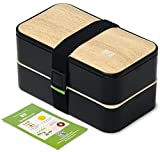BentoHeaven Leakproof Bento Box with Fun Lunch Notes, Cutlery, Chopsticks - Bamboo Black