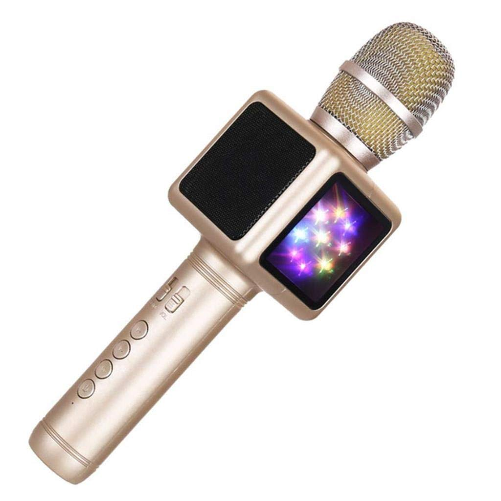Rsiosle Wireless Bluetooth Karaoke Microphone with Disco Lights, Condenser Bluetooth Speaker Music Sing Play Karaoke Microphone Compatible with Android and iOS (Color : Gold)