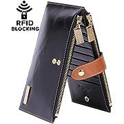 Amazon #LightningDeal 96% claimed: Borgasets RFID Blocking Women's Genuine Leather Zipper Wallet Card Case Purse