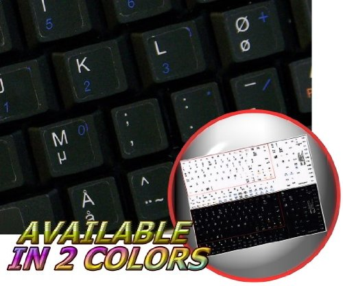 NORWEGIAN NON-TRANSPARENT KEYBOARD STICKERS ON BLACK BACKGROUND FOR NETBOOK