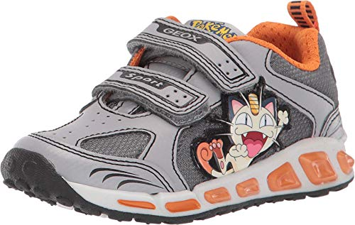 Geox Kids Boy's Shuttle 15 Pokemon (Toddler/Little Kid) Grey/Orange 28 (US 10.5 Little Kid) (Pokemon Shoes Boys)
