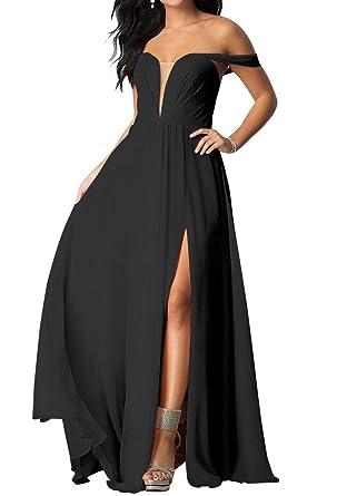 f9429b7613 Chiffon Bridesmaid Dresses Long V-Neck Backless Split Wedding Party Evening  Gowns 2019 Black