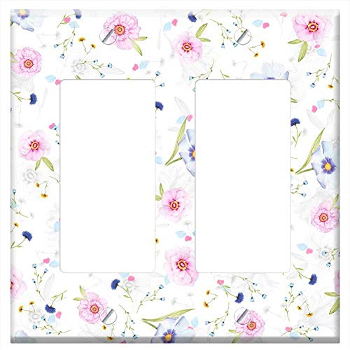 Switch Plate Double Rocker/GFCI - Floral Pattern Background Digital Paper Paper