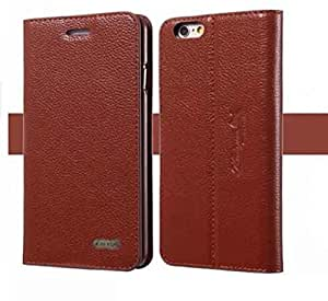 Iphone 6 Case, Genuine Leather Wallet Case 4.7 Inch Iphone 6 Cover, Premium Luxury Leather Case Phone Holster for Iphone 6 - Late 2014 Model (Brown)