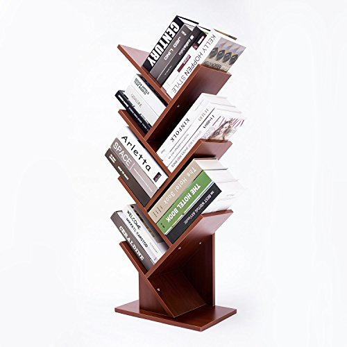 HOFOME 7-Shelf Tree Bookshelf Bookcase Book Rack Display Storage Thickened Compact Organizer Shelf for CDs, Records & Books, ()