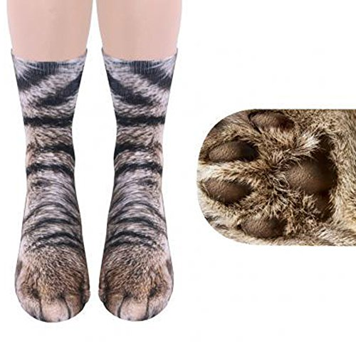 Unisex Funky Socks Hosamtel Animal Paw 3D Printing Sublimated All Over Crew Socks For Man Women Girl Boy (Cat)