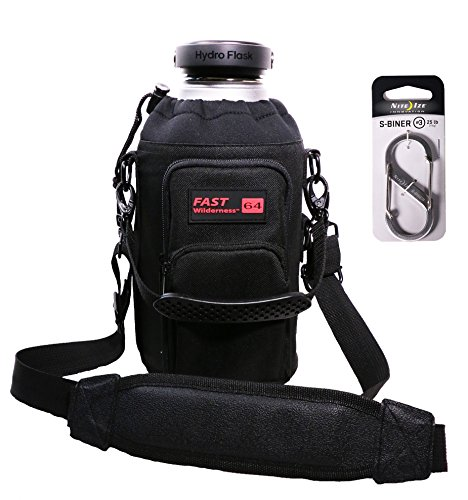 Fast Wilderness Premium 64 oz Carrier for YETI, RTIC and Hydro Flask. Large Pockets, Attachment Points, Carry Handle, Shoulder Strap with All Metal Hardware and Gift Box Bundled with S-Biner #3