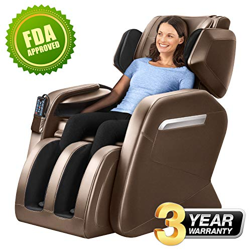 (Massage Chair Zero Gravity Full Body Shiatsu Luxurious Electric Massage Chair Recliner with Stretched mode Heating back and Foot Rollers Massage Therapy (Coffee))