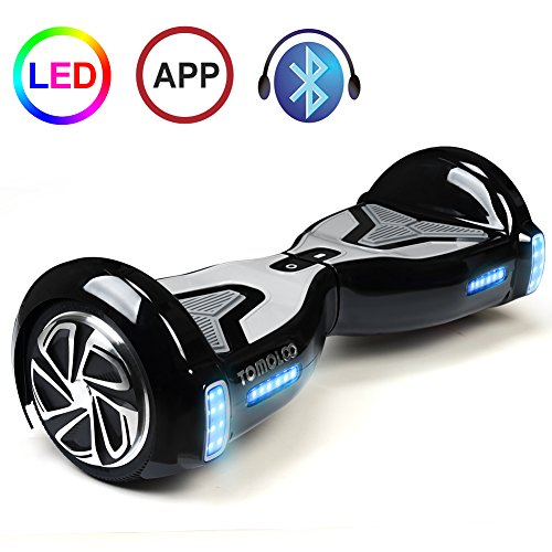 TOMOLOO Hoveroard with Bluetooth Speaker and Lights - Black Hover Board with App UL2272 Certified...