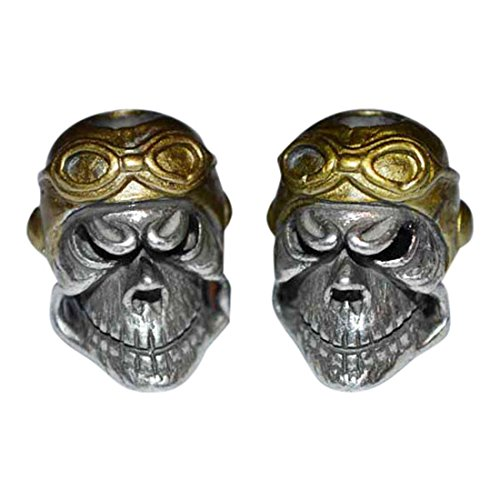 Aces High WWI Fighter Pilot Paracord Skull Bead Twin ()