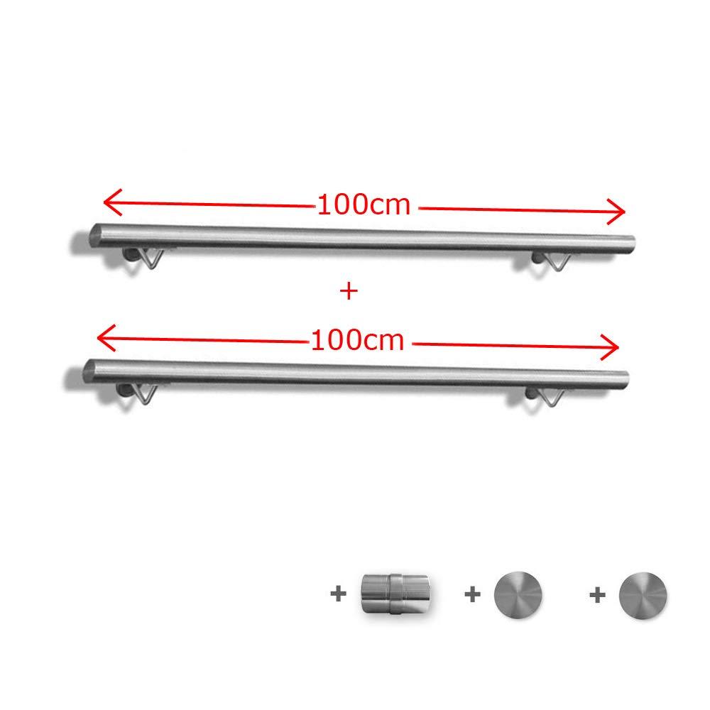 FROADP Pasamanos de acero inoxidable AISI304 Contra la barandilla de la pared para escaleras internas y externas Plata, 150 cm