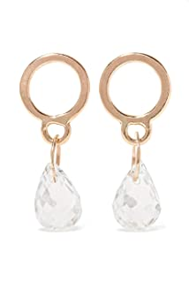 product image for Melissa Joy Manning 14k Gold Circle Drop Earrings in White Topaz