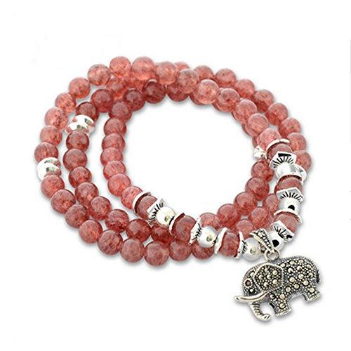 Jade Ange Femme 6mm Fraise à quartz Perles 3rangs Strand Bracelet avec charm en argent