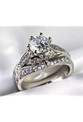 Gy Jewelry Vintage Round Zircon White Gold Filled Women's Wedding Ring Sets 2 in 1 Band Gifts