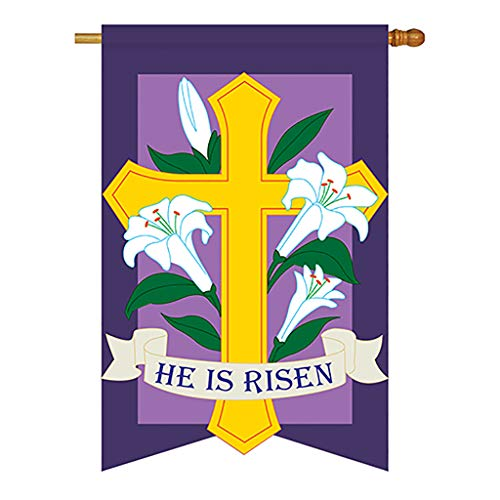 (Two Group - He Is Risen Spring - Seasonal Easter Applique Decorative Vertical House Flag 28