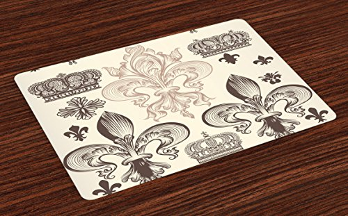 Lunarable Fleur De Lis Place Mats Set of 4, Heraldic Pattern with Fleur-de-Lis and Crowns Tiara Coat of Arms Knight, Washable Fabric Placemats for Dining Room Kitchen Table Decor, Beige ()