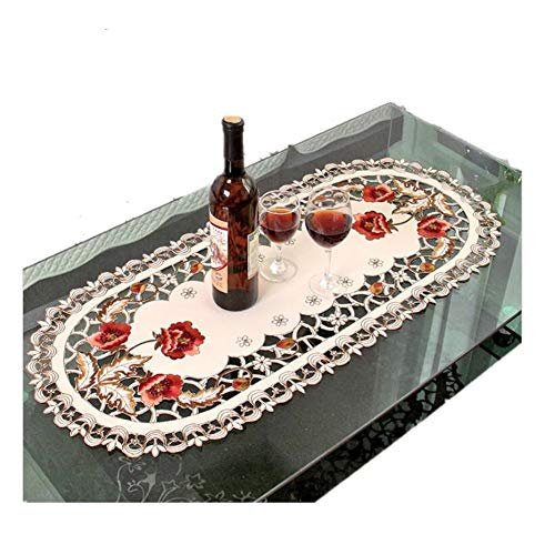 Judy Dre am European Style Brown Rose Cut Work Rustic Table Runner Beige Table Doily Handmade Embroidery Flower Handmade Tablecloth Durable Washable Table Cloths (15