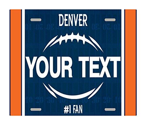 BleuReign(TM) Personalized Custom Name Football Denver License Plate Square Refrigerator Fridge Magnet - Little Colorado Vanity