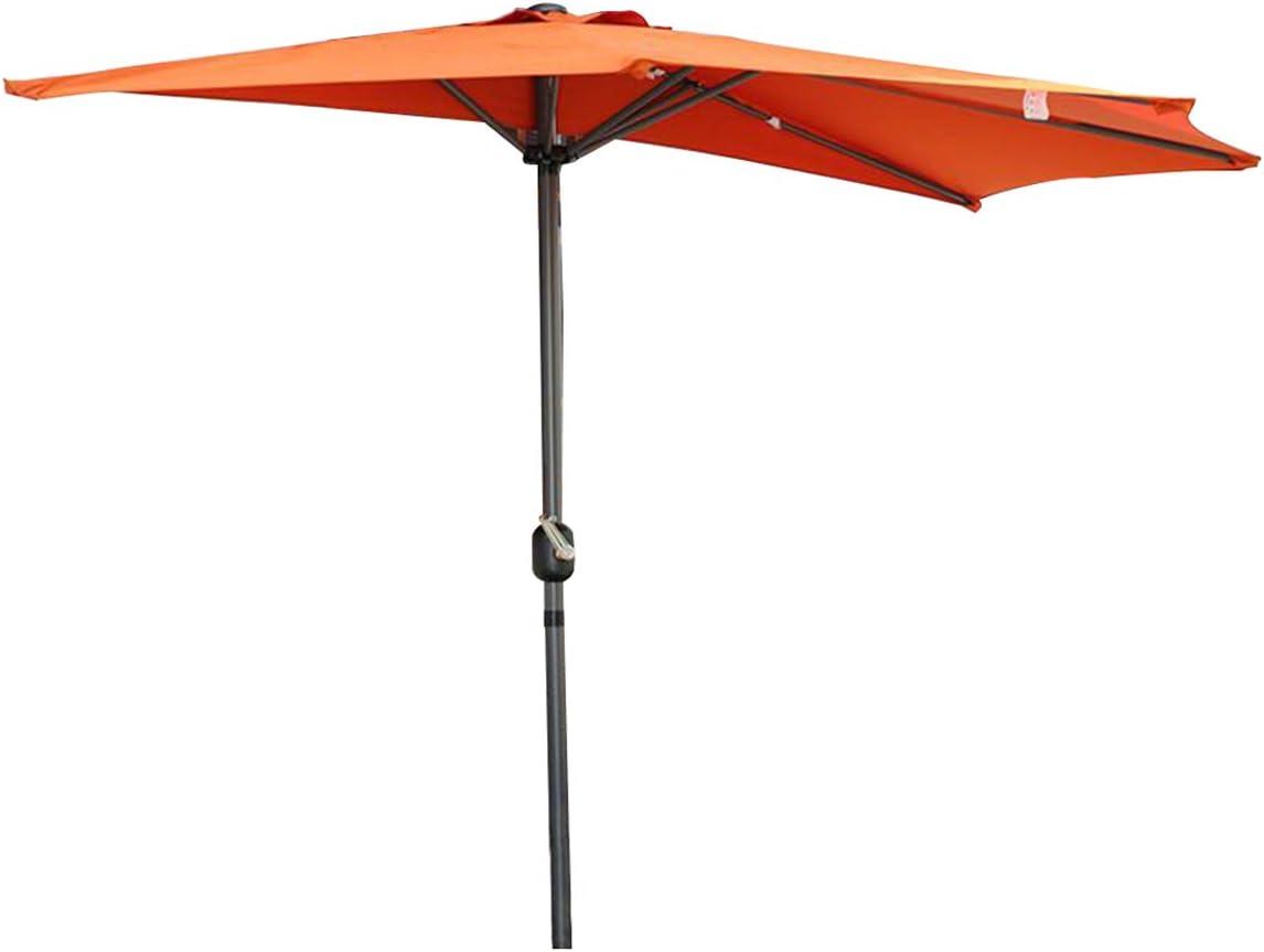 Angel Living/® 270cm Mezzo Tondo Ombrellone in Alluminio e Poliestere Resistente alla Ruggine Protezione UV Arancione