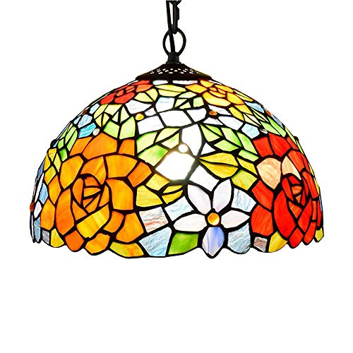 American Pastoral Tiffany Chandelier - Red Rose 12 Inch Stained Glass Retro Restaurant Chandelier, Suitable for Bedroom Living Room Hotel Lighting ()