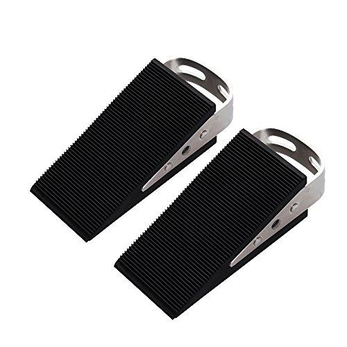 FLORA GUARD Door Stoppers- 2 Packs Premium Heavy Duty Wedge Rubber Door Stopper, Non-Scratching Door Stop, Anti-Slip Garden Stopper ()
